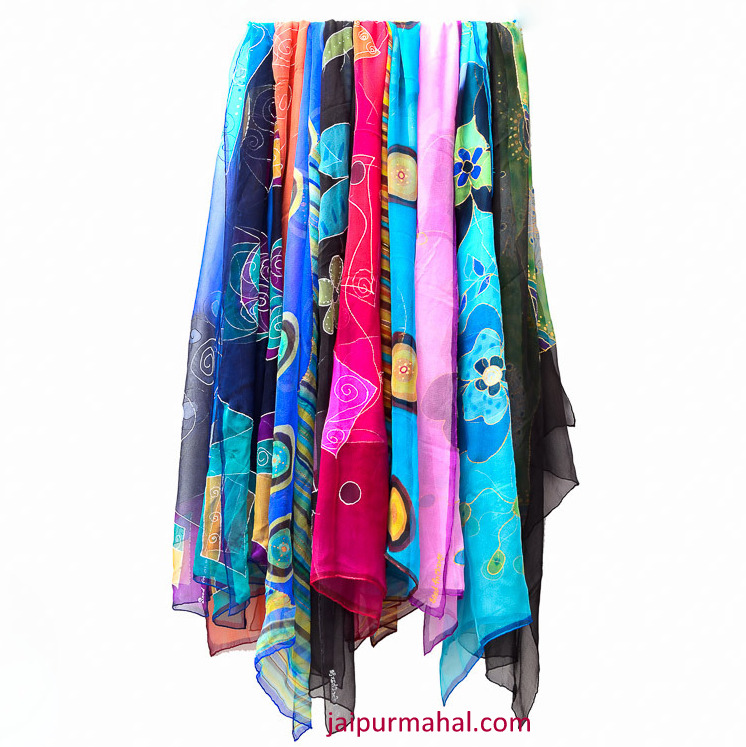 painted silk scarf jaipurmahal